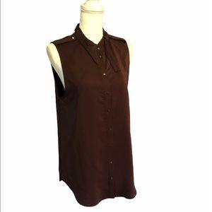 Amanda Uprichard Chocolate Silk Tank Blouse M
